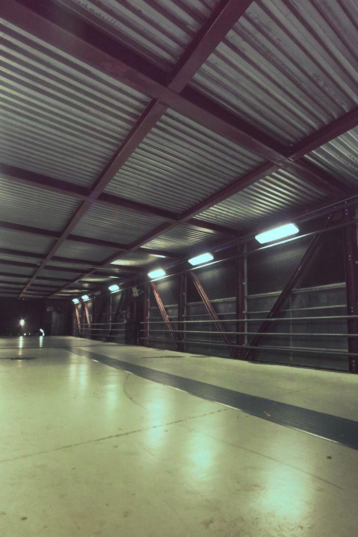 night, street, tunnel