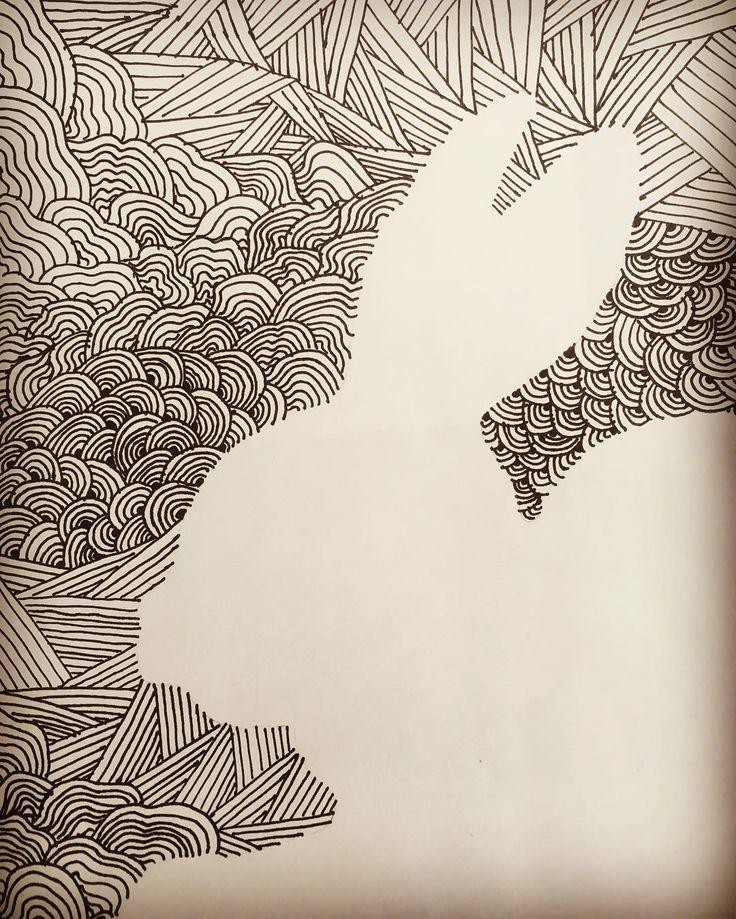 5th grade positive-negative line design work! #linedesign #artlesson #k5art #kidsart #drawingbunnies #blackandwhitedrawing #artsonia #teachart #artteaching #doodlesofinstagram