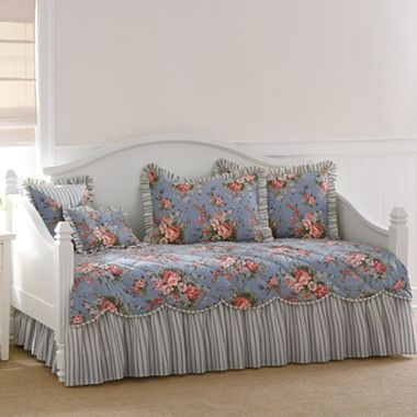 smoke blue floral daybed cover u0026 accessories jcpenney