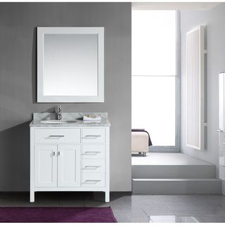 London 36-Inch Single Sink White Vanity Set with Right Drawers | Overstock.com Shopping - The Best Deals on Bathroom Vanities