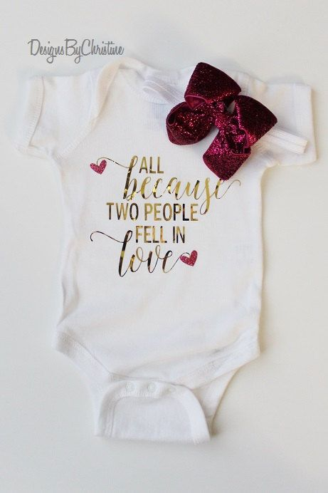 d4d10e336fb8 Newborn Metallic Gold White Onesie. All because two people fell in ...
