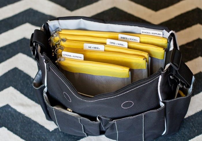 """Zippered """"files"""" for diaper bag organizing. They would make a great baby shower gift. 