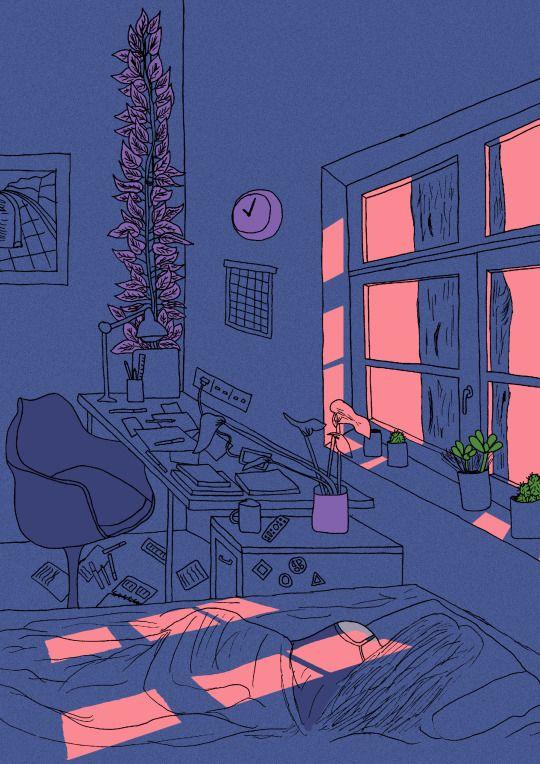 창문 걸쳐서 책상이랑 침대도