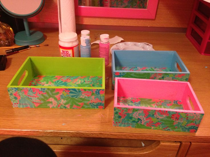 Bought the little craft boxes at Walmart $7 for all 3 & mod podged Lilly Pulitzer patterns onto them!