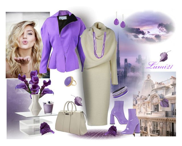 Untitled #2001 by lumi-21 on Polyvore featuring Acne Studios, Thierry Mugler, E L L E R Y, Gucci, Alexis Bittar, Kendra Scott, purple, booties, sweaterdress and fierceDesign