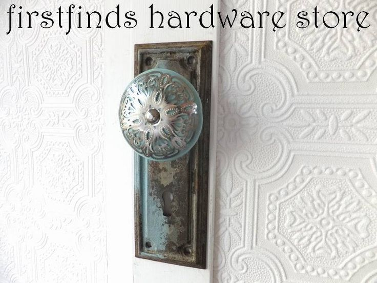 Shabby Chic Cabinet Door Pull Pantry Handle Hardware Blue Silver Decorative  Knob Back Plate Metal Furniture