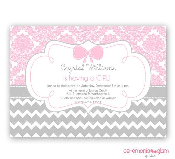 Baby shower girl pink damask and chevron  printable invitation