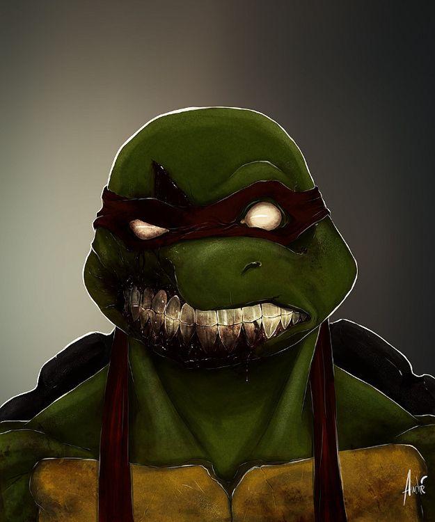Zombified Cartoon Caracters by Andre De Freitas!!! #art #zombie #monster #halloween #scary #creepy #cartoon #illustration #ninja #ninjaturtle #turtle
