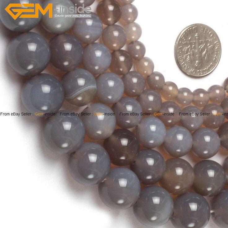 "Round Grey Agate Beads Jewelry Making Gemstone Strand 15"" Various Sizes #GEMinside #Spacer"