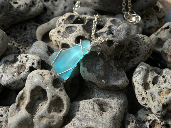 Aqua Sea glass pendant silverplated wrapped by Akti on Etsy, $24.00