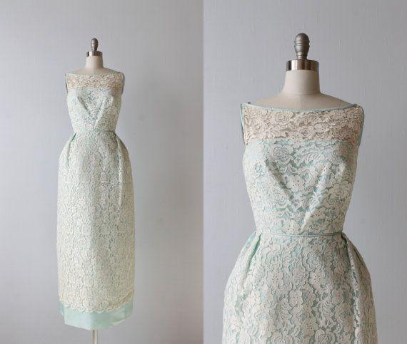 1960s Dress / Lace Dress / Sleeveless / Mint  / Bridesmaid Gown / Ocean