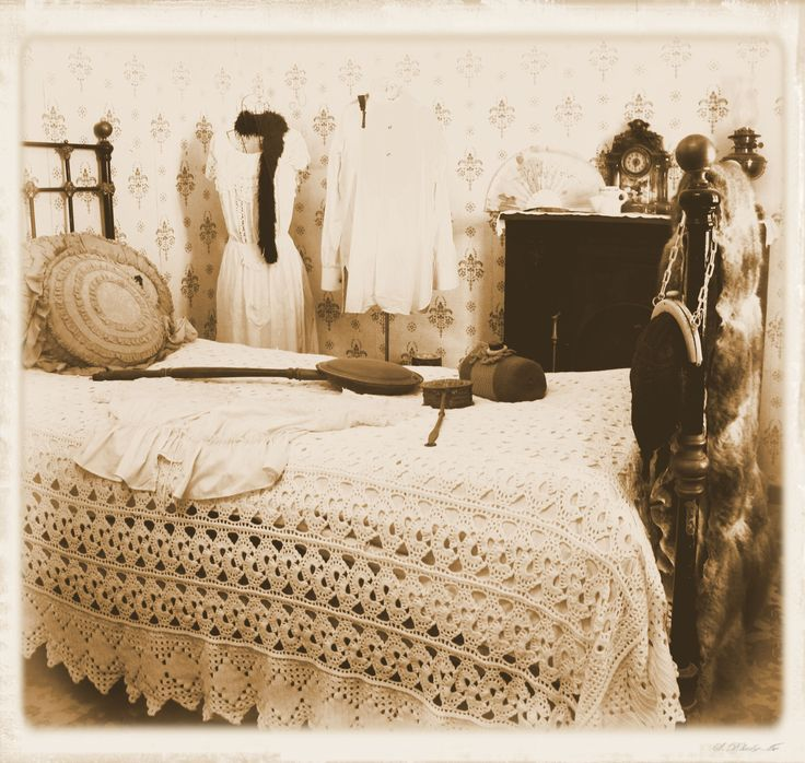 Bedroom décor, 1800's style, Pioneer Settlement, Swan Hill, Victoria