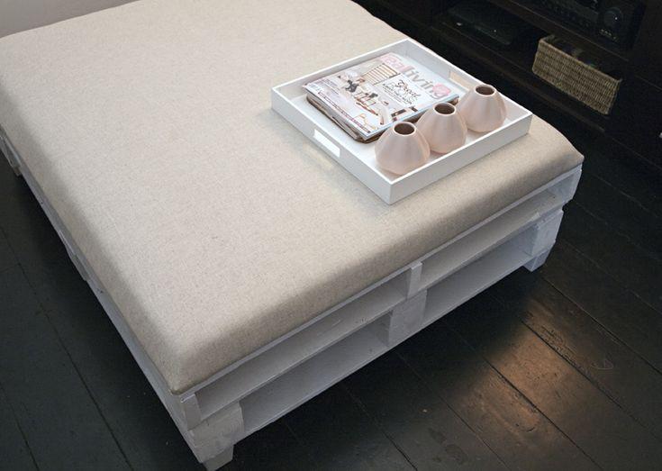 Upholstered pallet ottoman via Lyndsay // It's A Date Design