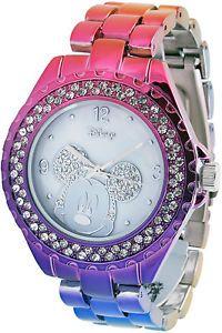 Disney Mickey Mouse Women's MK2103 Crystal Bezel Hot Multi Color Bracelet Watch