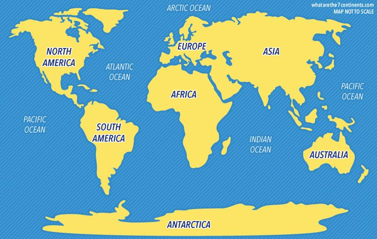 7 Continents and 5 Oceans Map