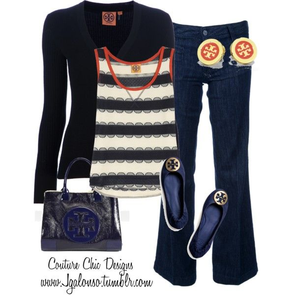 A fashion look from December 2012 featuring Tory Burch cardigans, Tory Burch tops and Tory Burch jeans. Browse and shop related looks.