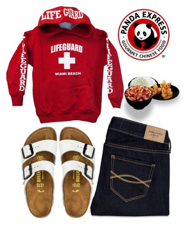 """comi comida china hoy !!!"" by sofiaestrada ❤ liked on Polyvore featuring Abercrombie & Fitch, Birkenstock and Panda"