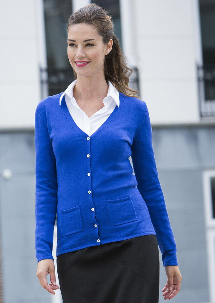 Women's Fine knit Feminine fit V-neck Cardigan, Royal Blue