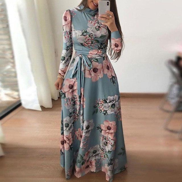 Women/'s Summer Boho Floral Short Sleeve Long Maxi Dress Party Beach Sundress