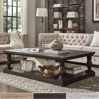 SIGNAL HILLS Edmaire Rustic Baluster Weathered Pine 60-inch Coffee Table