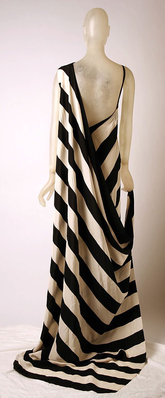 Black and white striped silk evening dress, c1975, Madame Grès (Alix Barton), French.