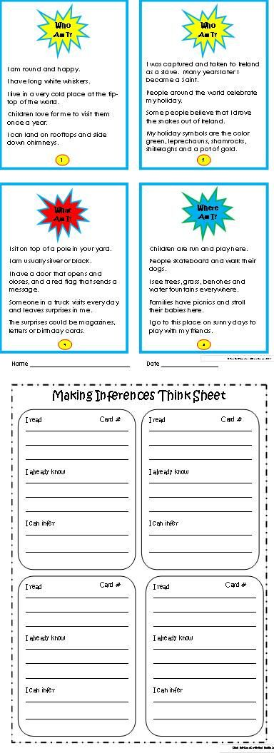 Making Inferences is a tricky reading comprehension skill that can be easy and fun with these engaging Common Core aligned Who, What, Where Am I Riddles Task Cards! Great for literacy centers, partners, preteach, review and more. $