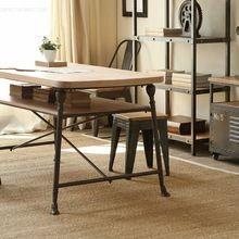 Чердак на американский в стиле кантри мебель из твердой древесины, Из кованого железа старый ретро стол обеденный уголок(China (Mainland))