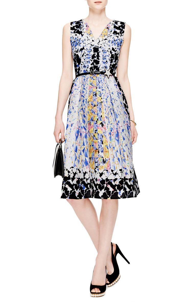 Na national treasure 2 diane kruger whitehouse dress mid bmp - Rh Printed Cloqu V Neck Dress By Peter Pilotto Moda Operandi