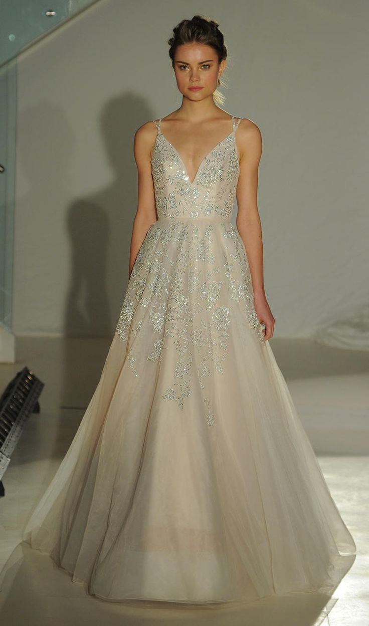 Ballgown with metallic details and deep v-neck neckline | Hayley Paige Spring 2017 | https://www.theknot.com/content/hayley-paige-wedding-dresses-bridal-fashion-week-spring-2017
