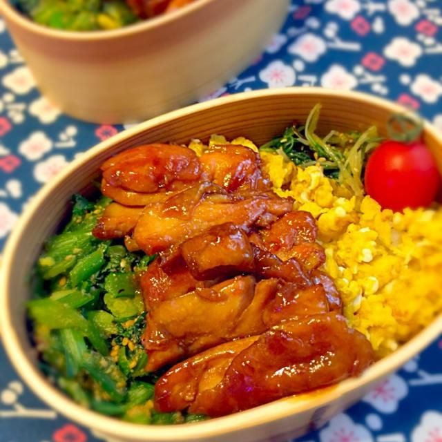 週末、金曜日。骨折部位も痛いしお疲れモードだしと言う事で予定変更して簡単丼もので。我が家の三色丼は鶏肉or豚ひき肉、卵、ほうれん草or小松菜が定番です MENU ⚫︎鶏もも肉、卵、小松菜の三色丼 ⚫︎水菜の塩こぶ和え ⚫︎ミニトマト - 55件のもぐもぐ - 2月27日 三色丼弁当。 by cbi48390