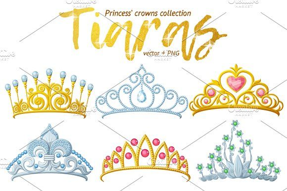 Tiara crowns vector collection by Ann-zabella on @creativemarket