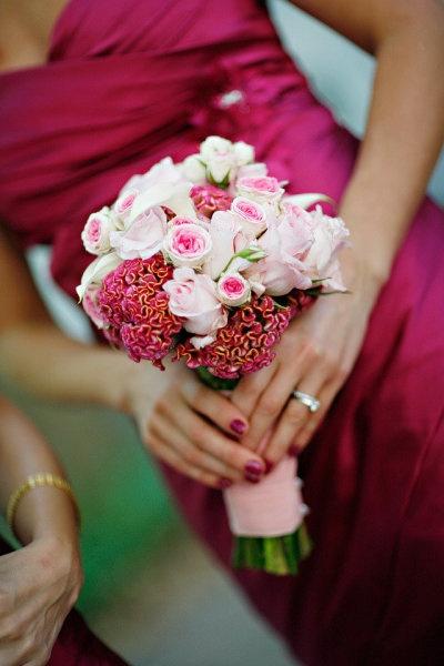 Simple Sweet Pink Roses, Mini Callas and Coxcomb Bouquets {Evantine Design}