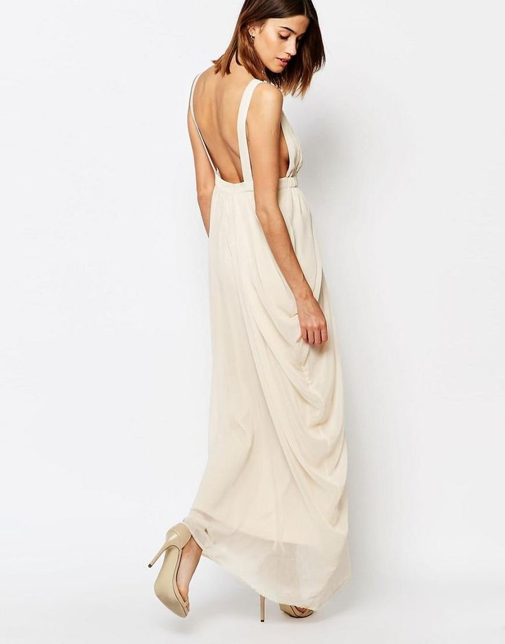 Vila | Vila Plunge Front Grecian Maxi Dress at ASOS