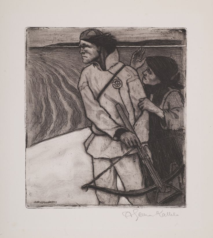 Akseli Gallen-Kallela: Joukahaisen kosto, 1903, etsaus. Kuva: GKM / Jukka Paavola