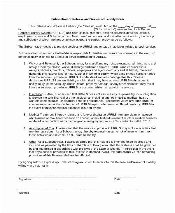 Liability Waiver Forms Template Beautiful Sample Waiver Of Liability 8 Examples In Pdf Word Liability Waiver Contract Template Liability