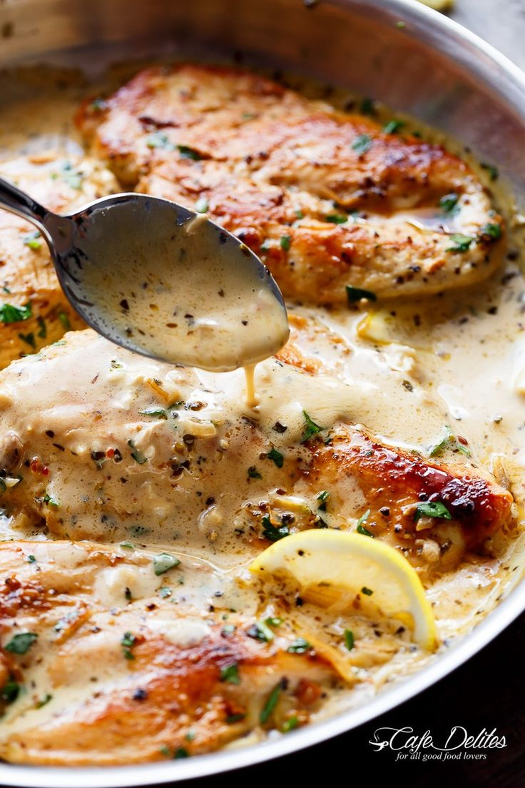 Lemon Chicken Scallopini with Lemon Garlic Cream Sauce combines two recipes into one: lemon garlic chicken AND a lemon garlic cream sauce to keep the flavours going!   https://cafedelites.com