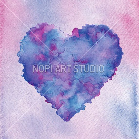 Love Heart Print, Valentines Background, Instant Download Printable, Romantic Decor, Colorful Love Wall Art, Watercolor Heart Digital Print by NopiArtStudio on Etsy