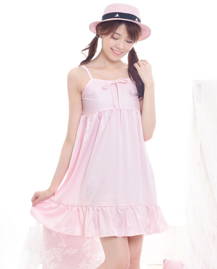 $16. Shop cute woman floral babydoll dress in baby pink color. Perfect for spring and summer. Jual dress babydoll floral dengan tali spaghetti. #kawaii #japanese #asian #fashion #style