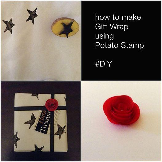 DIY Gift Wrap - Potato Stamp | Cara Membuat Bungkus Kado Menggunakan Cap Kentang | Baby Inc. Parenting Blog - Jakarta, Indonesia #DIY #KidsActivity #GiftWrap #Rose #Black