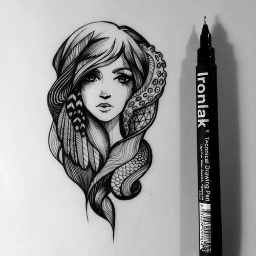 Drawing - a girl with some elements from octopus, snake and some feathers. #tattoo #tattoos #ink #inked