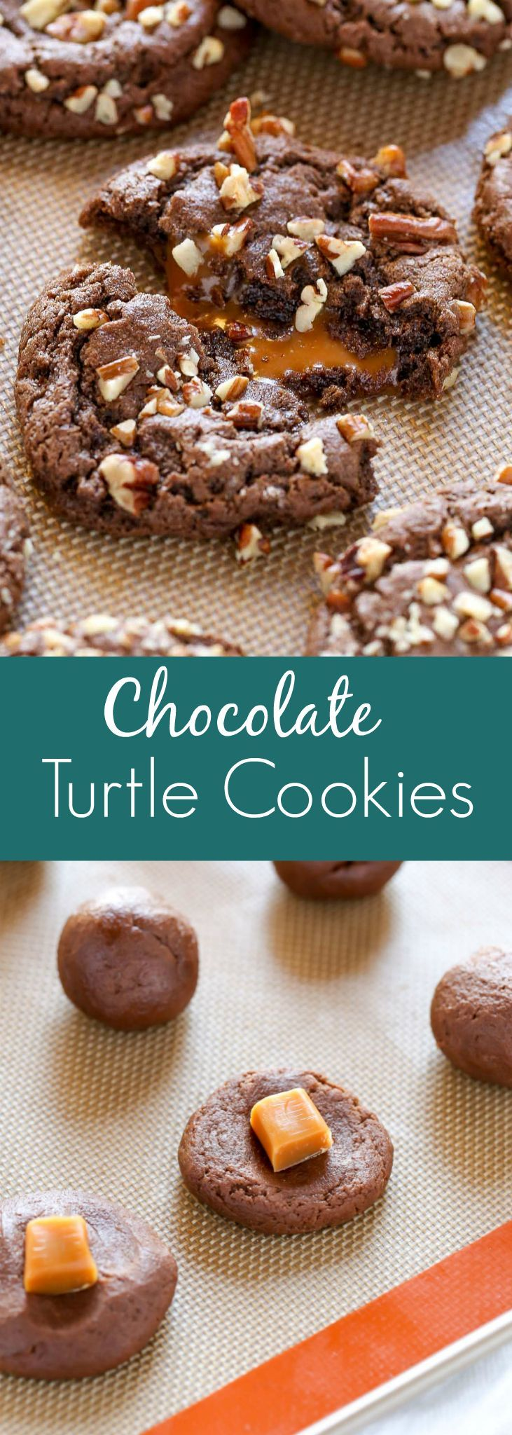 A recipe for easy chocolate cookies stuffed with caramel and coated in chopped pecans. These Chocolate Turtle Cookies are the ultimate dessert!