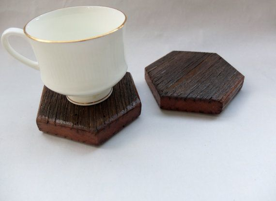 Wooden Hexagon Coasters Set of Four by OursandHours on Etsy