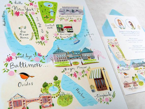 Custom stationery // Illustrated Moving Announcement cards // Hello New York