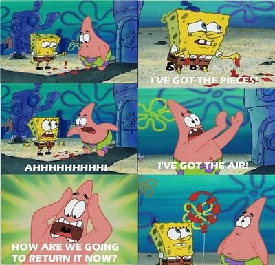 "LOL I remember this episode!!! Wait...when patrick says ""I'll get the air."" I thought they were underwater.....????"