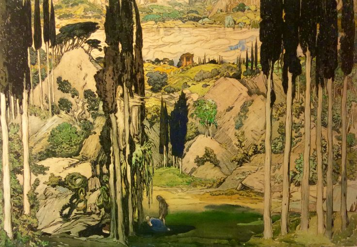 Leon Bakst. Sketch of scenery for ballet Daphnis and Chloe. 1912