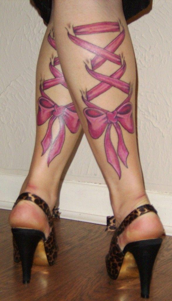 tattoos for women   pink ribbon leg tattoo for women