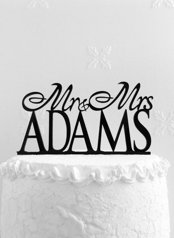 Mr and Mrs Adams Wedding Cake Topper