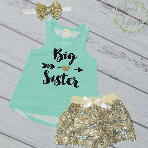 Big Sister Outfit - Tank, Shorts and Headband Set. This adorable tank top outfit makes a great photo prop for pregnancy announcements! We at Bump and Beyond Designs love to help you celebrate life's p