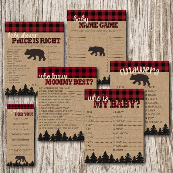 Baby Shower Games, Who Is My Baby, Name the Baby Animal Game, Plaid, Lumber Jack, Hunting, Lumberjack, Invitation, Invite, Baby Shower, Lumberjack Invitation,