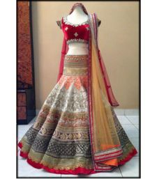 Buy multicolor heavy embroidery brocade unstitched bridal-lehengas bridal-lehenga online